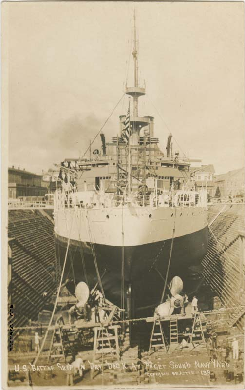 O. T. Frasch Image 138 - U.S. Battle Ship in Dry Dock at Puget Sound Navy Yard