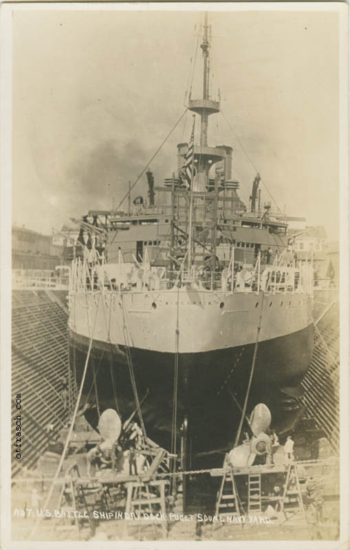 Copy A of O. T. Frasch Image 138 - U. S. Battle Ship in Dry Dock at Puget Sound Navy Yard