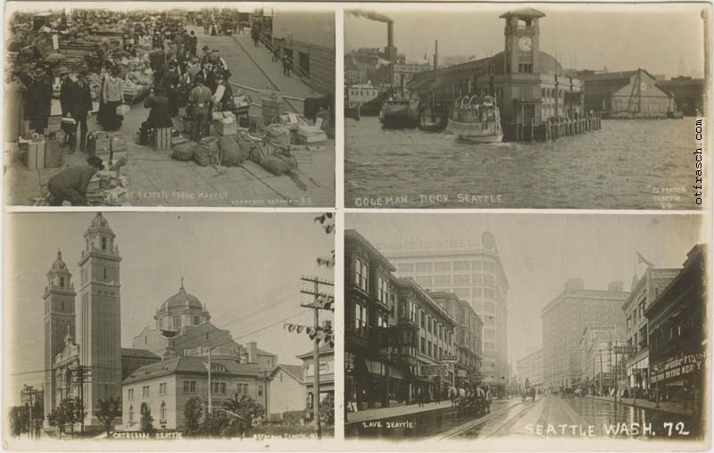 Image 72 - four-part postcard of Seattle scenes