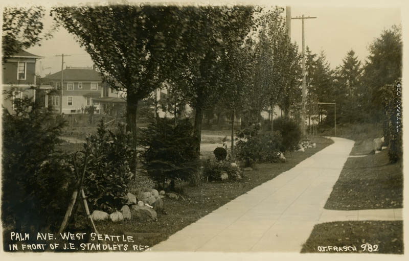 O. T. Frasch Image 982 - Palm Ave. West Seattle In Front of J. E. Standley's Res.