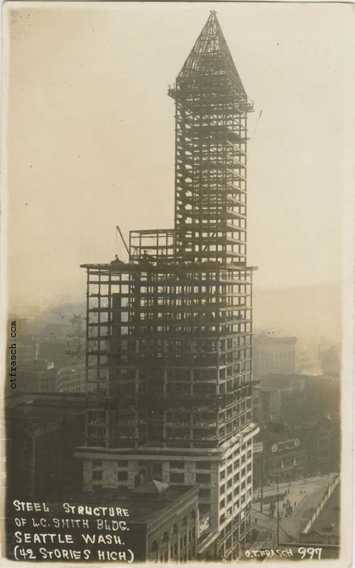 O. T. Frasch Image 997 - Steel Structure of L.C. Smith Bldg. Seattle Wash. (42 Stories High)