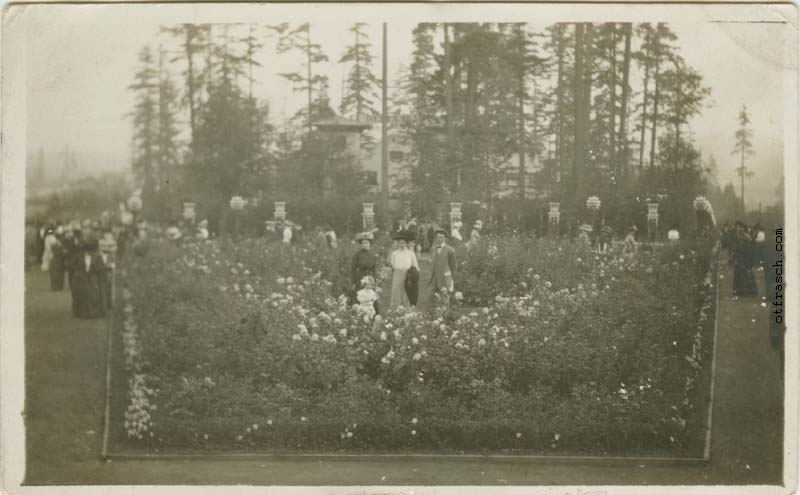 Unnumbered O. T. Frasch Image - A.Y.P.E. Formal Gardens with Mary, Elsie Frasch