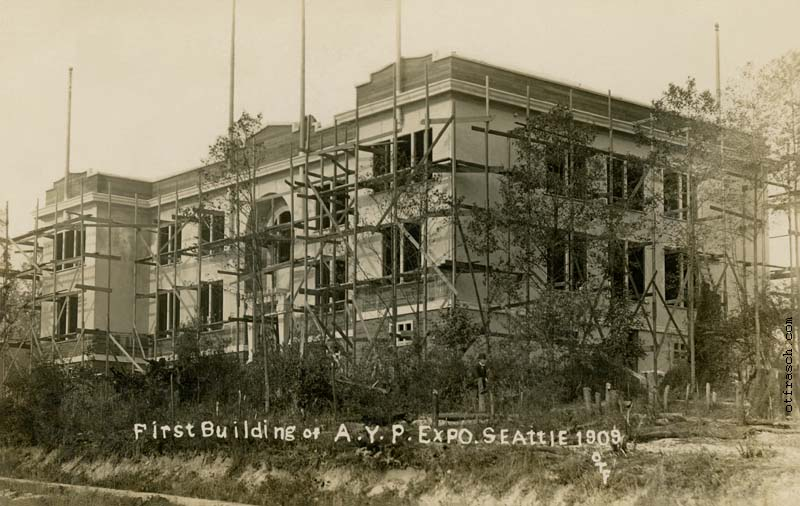 unnumbered O. T. Frasch Image - First Building of AYP Expo Seattle 1909