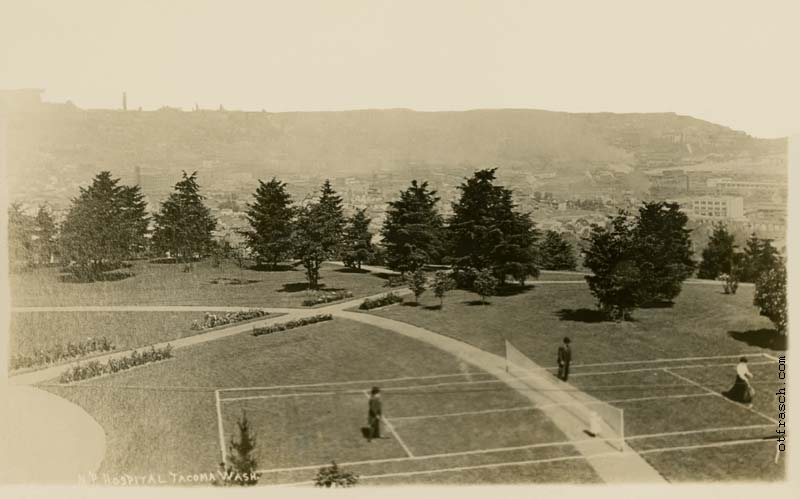 Unnumbered O. T. Frasch Image - N.P. Hospital Tacoma Wash (tennis court)