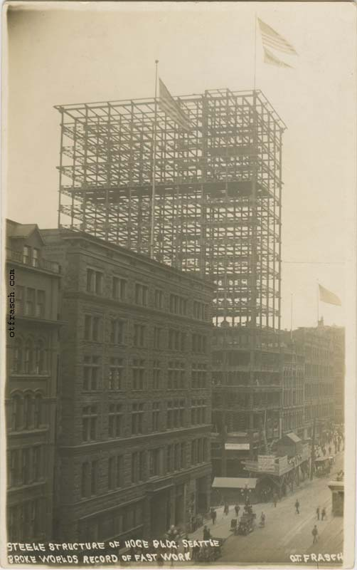Unnumbered O. T. Frasch Image - Steele Structure of Hoge Bldg. Seattle Broke Worlds Record of Fast Work