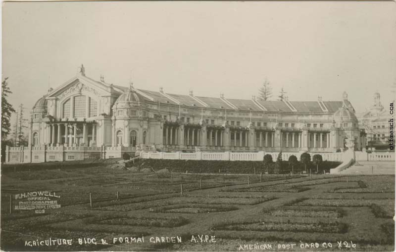 American Post Card Co. Image X26 - Agriculture Bldg. & Formal Garden A.Y.P.E.